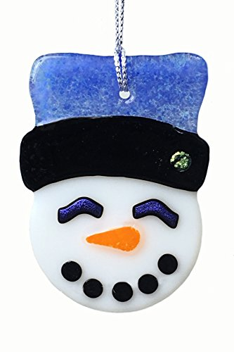 Blue Hat Fused Glass Snowman