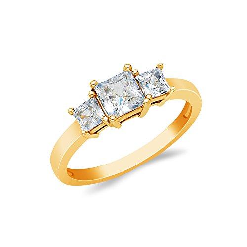 Gold 14k Tri Stone - Ioka - 14K Solid Yellow Gold 1 Ct. 3 Princess Cut Tri Stone CZ Wedding Engagement Ring - Size 7.5