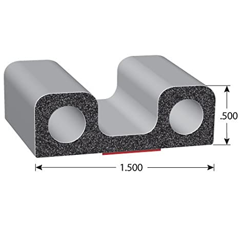 """.5/"""" Height High Strength Tape EPDM Foam Rubber Seal with BT 25/' Length X402BT-25 1.5/"""" Width Double-Bulb Lid Seals for Truck Beds /& Caps Truck Lids or Camper Shells Trim-Lok Square Rubber Lid Seal 3M"""
