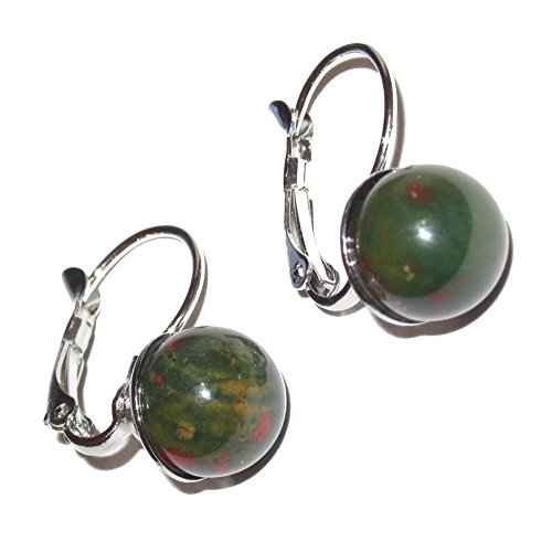 Bloodstone Earrings 03 Green Red Fleck 10mm Crystal Confidence Power Stone, Lever Back (Gift Box)