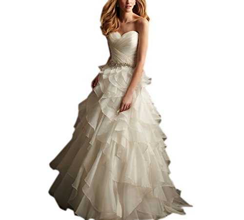 Ruffles Vintage Organza Evening Aurora A Wedding Line White Gown Dress Bridal qHxAAw6FB