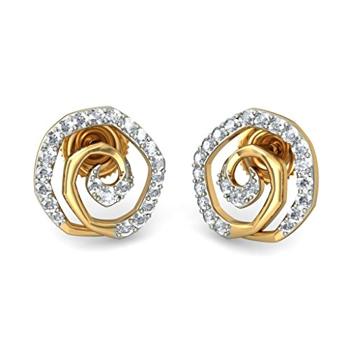 14 K jaune Or 0,42 CT TW White-diamond (IJ | SI) Boucles d'oreille à tige
