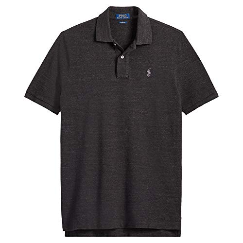 (Ralph Lauren Men's Classic Fit Mesh Pony Logo Polo Shirt (M, BasicBlackHtr))