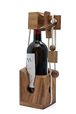 Wine Challenge: Deluxe Wine Bottle Puzzle Gift for Parties - Bottle Lock Challenge Brain Teaser for Adults from SiamMandalay with SM Gift Box(Pictured)(Bottle Not Included)