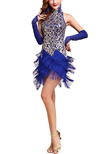 His n Hers 20'S Gatsby Themed Fancy Dresses Costumes Halloween Ladies, Royal Blue/gold, 4/6 -