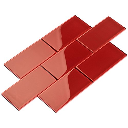 (Giorbello G5922-44 Glass Subway Backsplash Tile, 3 x 6, Ruby Red)