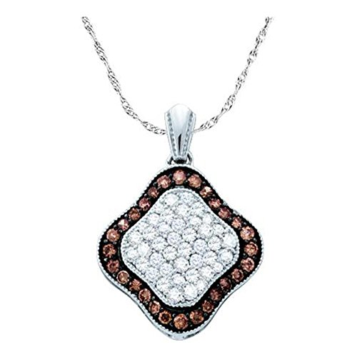 gnac Brown & White Brilliant Round Cut Diamond Pendant ()