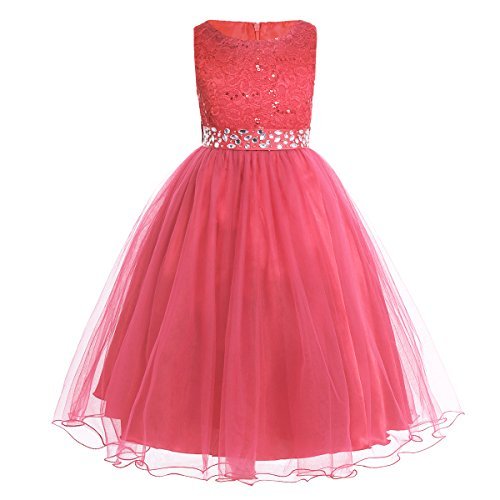 YiZYiF Kids Sequins Rhinestone Belt Embroidered Communion Pageant Wedding Party Flower Girls Dresses Coral 8 ()