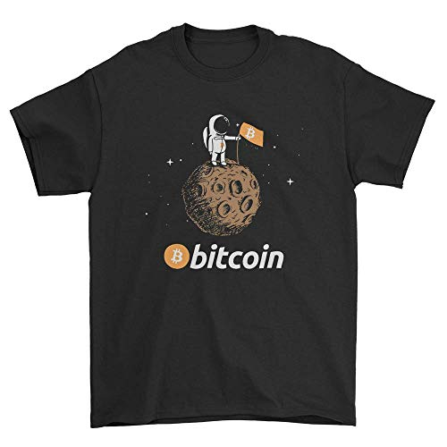 LED store Bitcoin to The Moon T-Shirt Featuring Astronaut Black