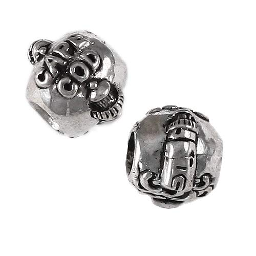 Cape Cod, MA - Lighthouse Charm Bead - Solid 925 Sterling Silver - Fits Bracelets like Pandora - Perfect Summer Vacation Souvenir and Gift