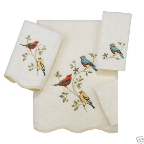 Avanti Linens Gilded Birds 3 Piece Bath Towel, Hand Towel and Fingertip Towel Set Ivory