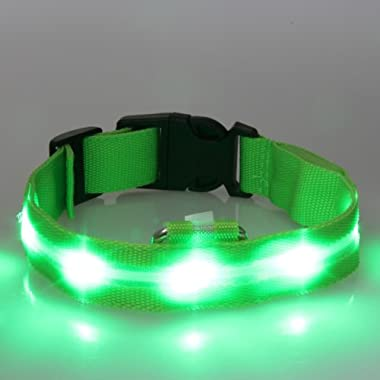 Walgap® Silicone Dog Collar LED Flashing Lights Lightweight (Green, Large)