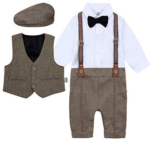 mintgreen Set Van 3 Stuks Baby Jongen Pak Heer Jumpsuit & Vest Jas & Baretten met Bowtie en Bretels, 3-18 maanden