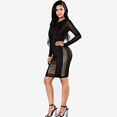 Carolina Dress Vestidos Ropa De Moda 2017 Para Mujer De Fiesta y Noche Elegante (L, Black) VE0013 at Amazon Womens Clothing store: