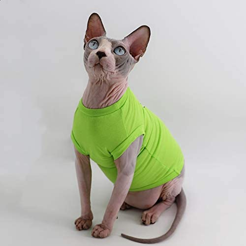 Sphynx Hairless Cat Breathable Summer Cotton Shirts Pet Clothes, Pullover Kitten Vest T-Shirts Sleeveless, Cats & Small Dogs Apparel Solid Color 16