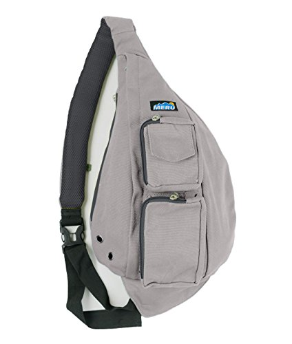Meru Sling Backpack Bag - Small Single Strap Crossbody Pack for Women and Men (Light Gray)