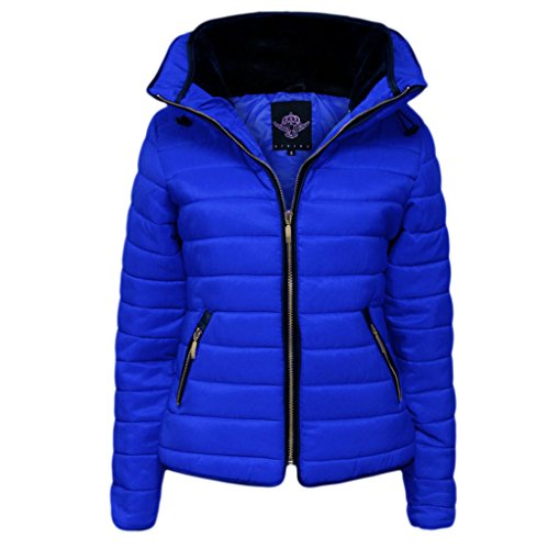 H&F Girls Women Ladies High Quality Zara Inspired Quilted Bubble Puffer Padded Plain Full Long Sleeve Zip Up Hip Length Winter Zipped High Faux Fur Inside Collar Coat Jacket Size 8 10 12 14 Royal-blue