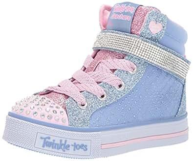 Skechers Australia Twinkle LITE - Beauty-N-Bling Girls Training Shoe, Light Blue/Pink, 1 US