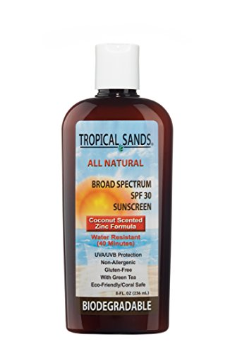 All Natural SPF 30 Sunscreen, Coconut Scent, Biodegradable, Reef Safe (Tropical Scent)