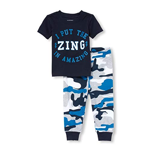 The Children's Place Baby Boys Novelty Printed Pants Pajama Set, Tidal 3T]()
