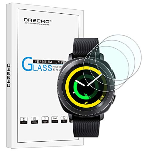 [3 Pack] Orzero For Samsung Gear Sport Smart Watch (upgraded version) Tempered Glass Screen Protector, 2.5D Arc Edges 9 Hardness HD Anti-Scratch [Lifetime Replacement Warranty]