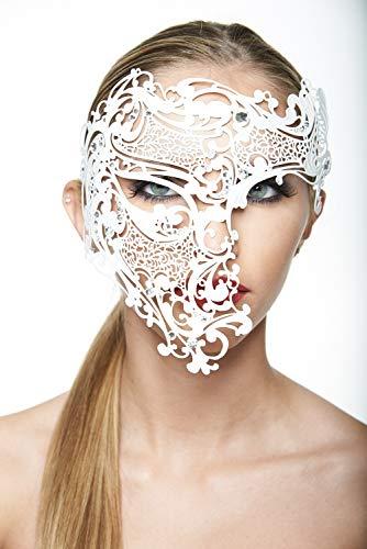 Skull Phantom of The Opera Inspired Design Metal Filigree Masquerade Halloween Mask (White with Clear Rhinestones) -