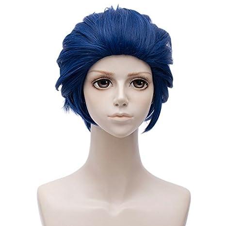 Falamka - Peluca corta para cosplay, color azul marino y resistente al calor, peluca