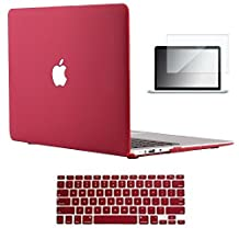 "Vasileios 3in1 Rubberized Matte Satins Soft-touch Hard Shell Case Cover & Screen Protector for 11-inch Macbook Air 11.6"" (Models: A1370 and A1465) (Wine Red)"