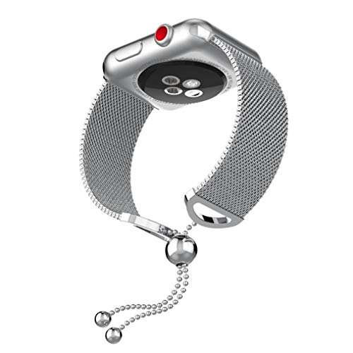 Fashion Women Jewelry Bracelet Band Replacement For Apple Watch 1/2/3 38mm (Silver)