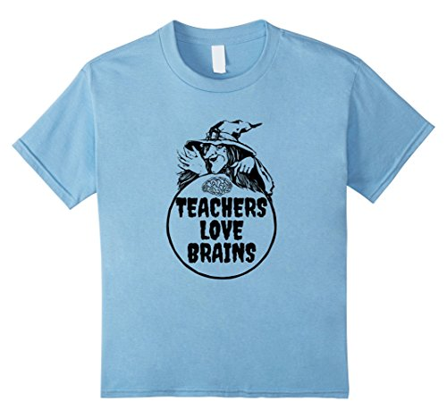 Kids Teachers Love Brains- Fun Halloween T-Shirt 4 Baby Blue