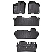 MAXLINER A0128/B0083/C0083/D0128 Floor Mats, 3 Row Set & Tray Cargo Liner Behind 3rd Row Toyota Sienna 8 Passenger, 2013-2017, Black