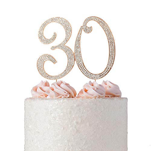30 ROSE GOLD Cake Topper | Premium Sparkly Crystal Rhinestone Diamond | 30th Anniversary or Birthday Cake Topper Decoration Ideas | Perfect Keepsake (30 Rose Gold)