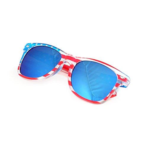 Shaderz Clear American America USA Sunglasses Frame Retro 80's Ice Blue Lenses