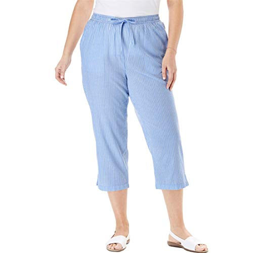 (Woman Within Plus Size Petite Seersucker Capri Pant - French Blue Stripe, 20 W)