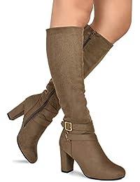 Strappy Buckle Knee High Boots - Trendy Block Heel Shoe -...