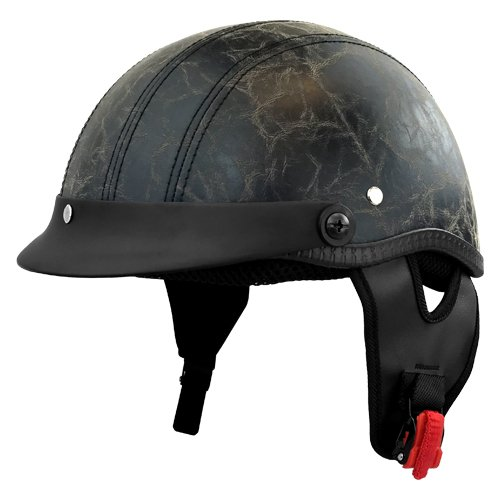 Unisex Half Size DOT Approved Motorcycle Helmet, Bagger Style Helmet - Worn Leather - Adult Large