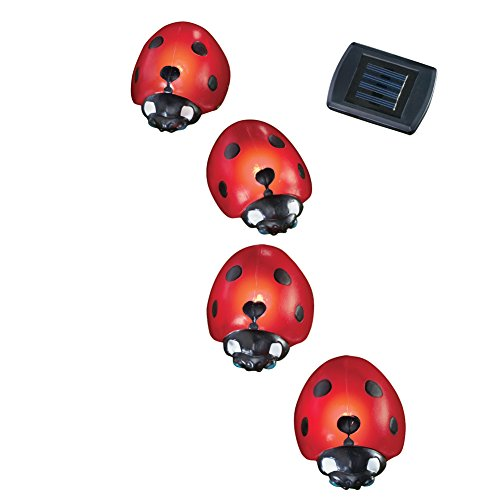 Collections Etc Solar Ladybug Garden Light Lawn Stakes - Set Of 4, Red Solar Ladybug Lights