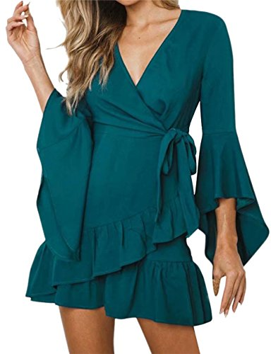 - JINTING Womens's Wrap Dresses Casual Summer V Neck Tie Waist Asymmetrical Ruffle Hem Solid Fit and Flare Mini Dress Size S (Cyan)