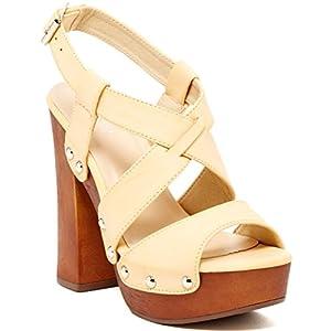 Bucco Erikine Womens Fashion Vegan Block Heel Wedge Sandals, Natural, Size 9, US