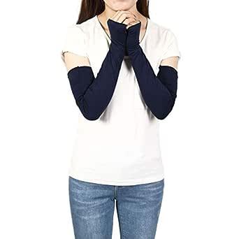 Sheeper Women's Arm Warmer Sleeve Sun Block Stretchy Long Fingerless Driving Gloves (Navy)