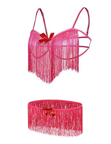 Plus Size Lingerie, Jingjing1 Women's Fringe Elastic Strap Bra and Panty Set for Sex Flirt