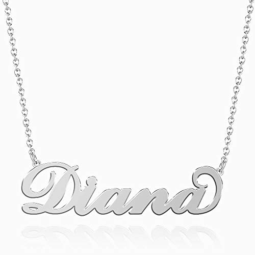 SOUFEEL Diana Name Necklaces Pendant Stainless Steel Silver Personalized Nameplate for Women Girls Gifts