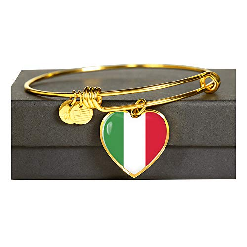 P.S. I Love Italy Gold Italian Flag with Heart Charm Bangle - Great Italian Themed Jewelry Gift - Shatterproof Glass Bangle on Surgical Steel Fashion Bracelet - Engraving Available