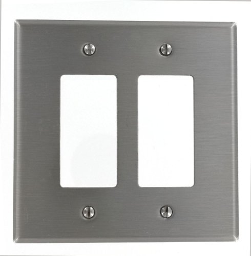 Leviton SO262 2-Gang Decora/GFCI Device Decora Wallplate, Oversized, 302 Stainless Steel, Device Mount, Stainless (Mount 2 Gang Stainless Steel)