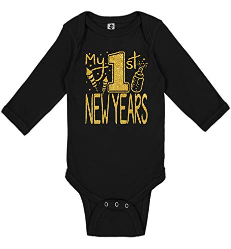 New Outfit 2019 (Aiden's Corner New Item Handmade Holiday Baby New Year Bodysuit - Boy Girl Gold Flake My First New Years Outfit (My 1st New Years Gold Black, 6)