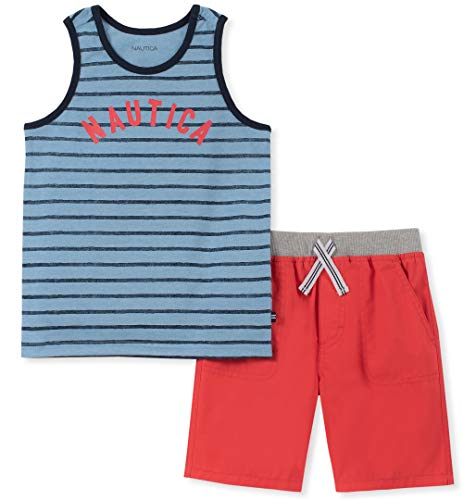 Nautica Sets (KHQ) Boys' Little 2 Pieces Tank Top Shorts Set, Blue Stripes 5