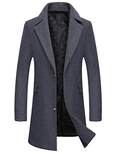 (Mordenmiss Men's Slim Wool Coat Business French Trench Coat Down Jacket Long Outwear L Gray )
