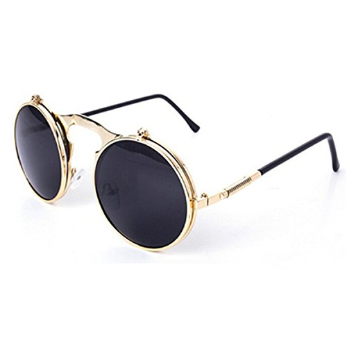 Surprising Day Retro Steampunk Googles Vintage Round Flip Up Sunglass Women Mens Clip On Sunglasses Metal Punk Sun Glasses Male Oculos Gold Gray