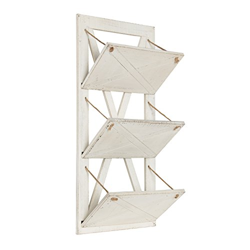 Kate and Laurel Hardeman 3 Pocket Farmhouse Wood Hanging Wall File Holder, Rustic White by Kate and Laurel