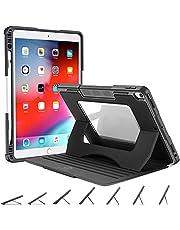 OCYCLONE Fodral till iPad Air 3 10.5 2019 / iPad Pro 10.5 2017, Stötsäker Skyddsöverdrag med Flera Vinklar och Pennhållare, Clear Back-Fodral med Automatisk Sömn/Vakna, Svart